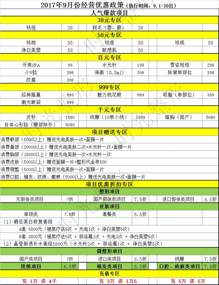 杭州时光整形2017年9月整形项目优惠政策