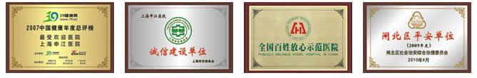 上海申江医院荣誉